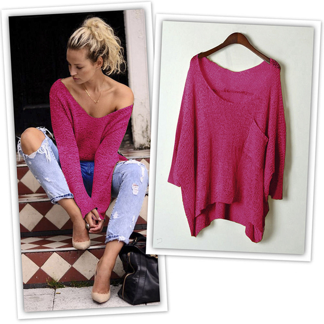 1ea4f5034a New Oversized Loose Baggy Tops Off Shoulder V-Neck Cable Knit Jumper With  Pocket Long Sleeves Blouse Knitwear Sweater Poncho