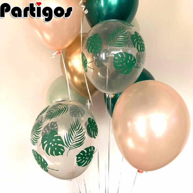 5pcs Palm Leaf Latex Balloon Tropical Party Decorations Green Leaves Balloons Wedding Hawaiian Party Aloha Birthday Balloons