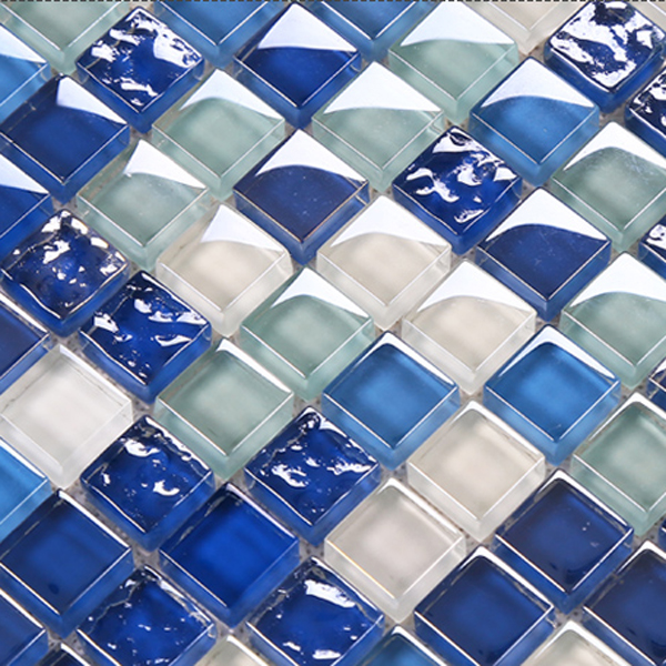 Mar azul de cristal pared del baño mosaicos backsplash espejo ...