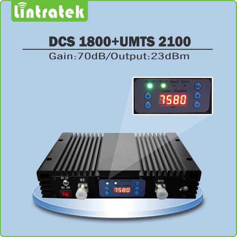 Alta Ganancia 70dB celular señal repetidor DCS1800Mhz + 3G WCDMA 2100 MHz banda dual Booster de señal con pantalla LCD y AGC/MGC
