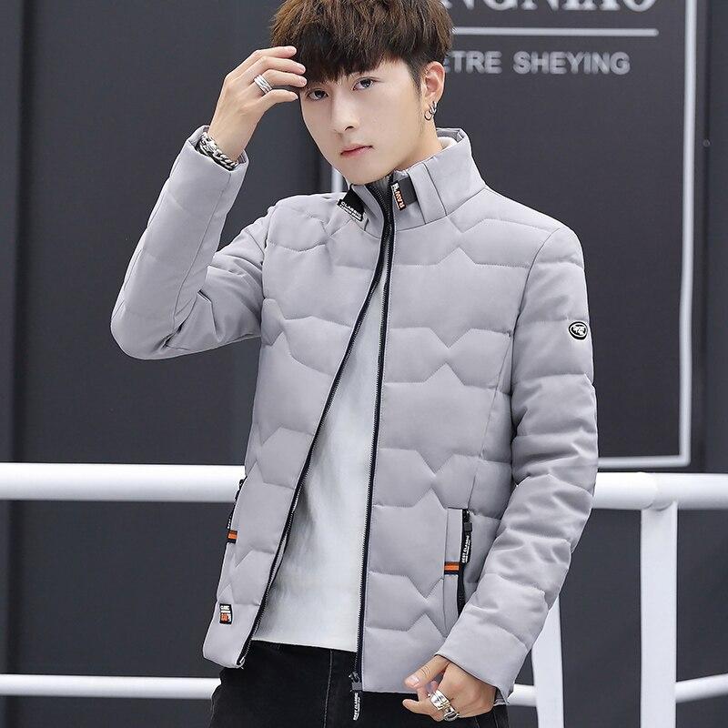 Image 2 - Зимняя куртка, Мужская хлопковая одежда, модная мужская зимняя теплая приталенная куртка пуховик, мужская куртка на молнии, однотонное пальто-in Парки from Мужская одежда