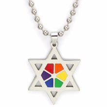 Gay Pride Pentagram Stars Silver Plated Chains Necklaces