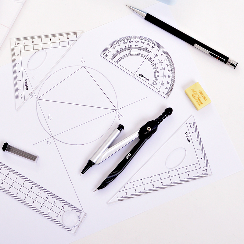 Deli Math Set drafting set Compass Circle Drawing Template Protractor Math Art Maths Squares Mathematic Geometry Compass deli math set drafting set compass circle drawing template protractor math art maths squares mathematic geometry compass