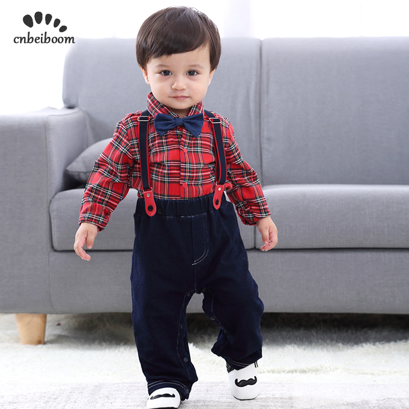 f512341040c79 Baby boy suit autumn winter boys 1 2 year birthday dress baby infant  gentleman clothes sets grid rompers and overall pant set
