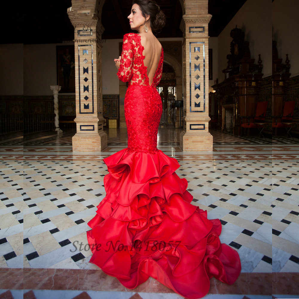 fd7aeb02ad50 Elegant Lace Mermaid Evening Dress Red Long Sleeve Prom Dresses Backless Formal  Gowns Ruffles Sweep Train
