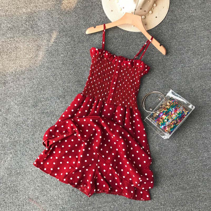 NiceMix Casual Dot Print Playsuits Women Red Sexy Bow Party Romper Ladies Summer Halter Lace Up Bandage Short Pants Jumpsuit Str