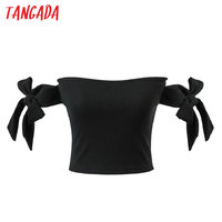 Tangada Strapless Crop T-shirt Knot Sleeve Tops Tees Sexy Off the Shoulder Stretch Black Shirts Blusas Female Summer Tops XD96