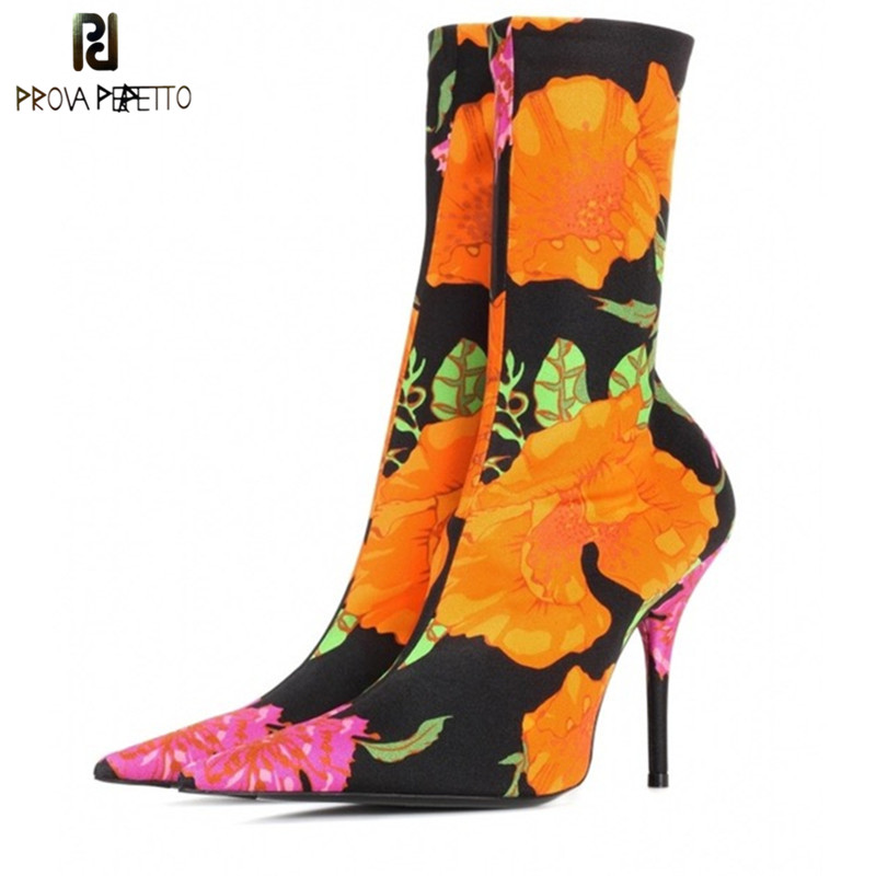 Prova Perfetto 2018 Candy Color Stretch Fabric Women Sock Boots Pointed Toe Ankle Boots Brand Design High Heel Boots Women Pumps graceful women s pumps with hit color and pointed toe design