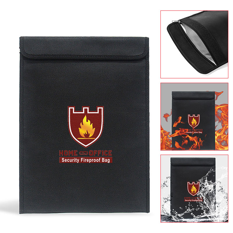 Fireproof Money Document Bag Water Resistant Cash Envelope Holder Protection Pouch Bags QJY99