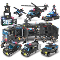 City SWAT Series Special Police Small Building Blocks With 8PCS Figure 8 IN 1 Police Command Car Toy For Children 9Changes