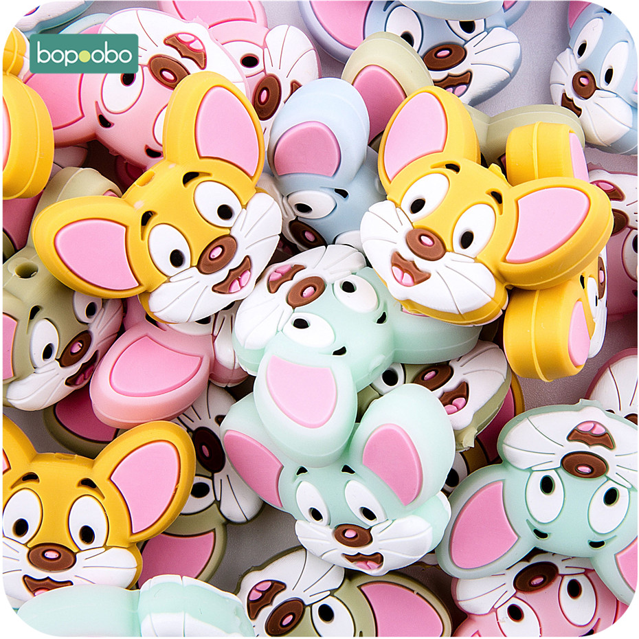 Bopoobo 5pc Silicone Teething Beads Bpa Free Food Grade Diy Newborn Pacifier Chain Cartoon Mini Mouse Head Baby Silicone Teether