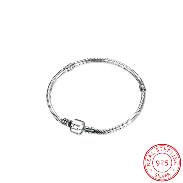 Robira Solid Bracelets 100% 925 Sterling Silver Snake Chain Bracelet Charms Fit DIY Pandora Fashion Bracelet Jewelry Making