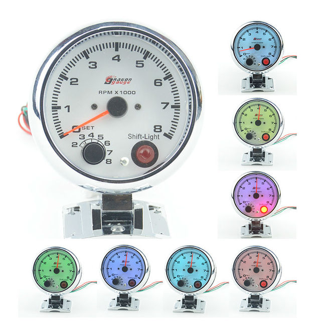 "3.75""  Car Rev Counter Tacho Tachometer Pointer Gauge Meter 0-8000 RPM Colorful lights  Free shipping"