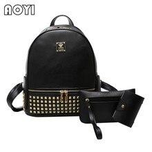 AOYI 3 шт./компл. женщины рюкзак кожаный рюкзак для девочек-подростков заклепки старинные сумка кошелек школа моды Дорожные сумки