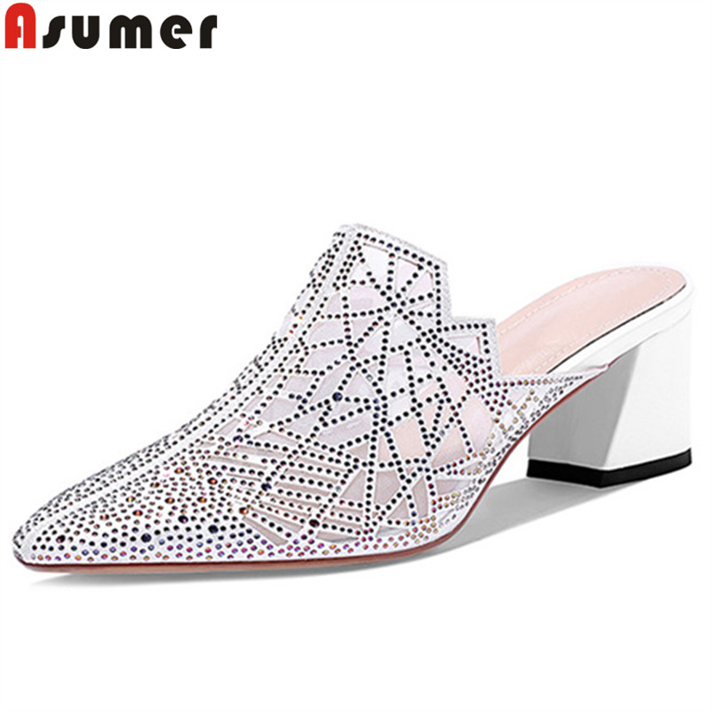 ASUMER Sandals Shoes Mules Shallow Crystal Square Pointed-Toe High-Heels Ladies Slingback