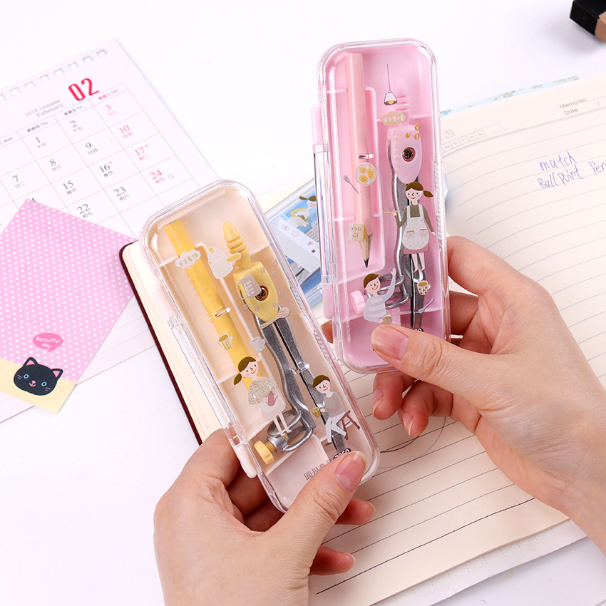 1 Set Math Geometry Metal Compasses With Pencil Cartoon Couples School Office Student Geometric Stationery Supplies