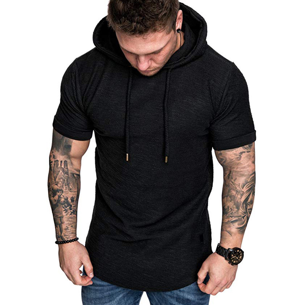 Men T-Shirt Casual Tops Spring Summer Printing Short Sleeve Hoodies Sweatshirt