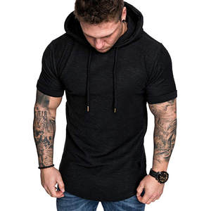 Hoodie Tops Short-Sleeve T-Shirt Spring Slim-Fit Sport Casual Summer Large-Size 19APR2