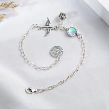 лучшая цена 925 Sterling Silver Charm Bracelets For Women Natural Stone Moonstone Vintage Crown Swallow Fine Jewelry Bracelets & Bangles
