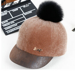 New fox fur/Fox fur pompom Rabbit hair faux mink fur blended women winter hat Baseball caps Girls warm fashion peaked cap russian fashion ms mink knitted cap with fox fur pompom ball womens autumn winter warm wear hat straw hat keep warm hat h 03