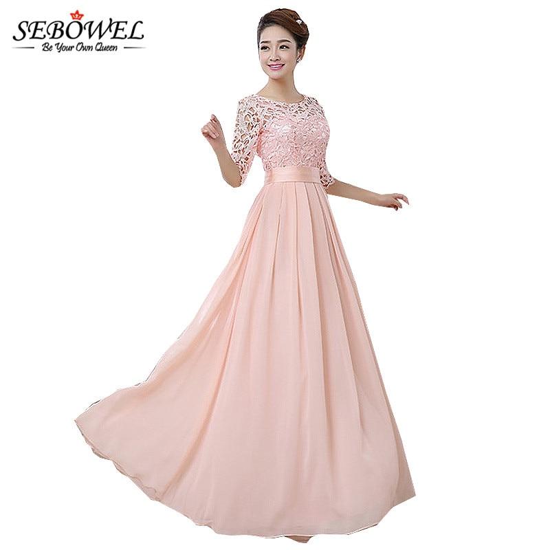 2018 Autumn Winter Women Long Chiffon Dress Half Sleeve Maxi Dresses For Women  Formal Wedding Party Lace Dress Bridesmaid Wear  f4f83c12bbab