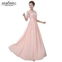 2018 Autumn Winter Women Long Chiffon Dress Half Sleeve Maxi Dresses For Women Formal Wedding Party