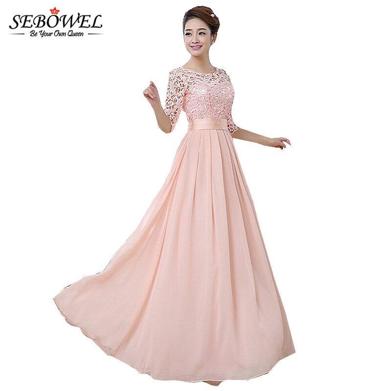 0726e9c684 US $16.2 35% OFF|SEBOWEL 2019 Autumn Winter Women Long Chiffon Dress Half  Sleeve Maxi Dresses For Female Formal Wedding Party Lace Bridesmaid-in ...