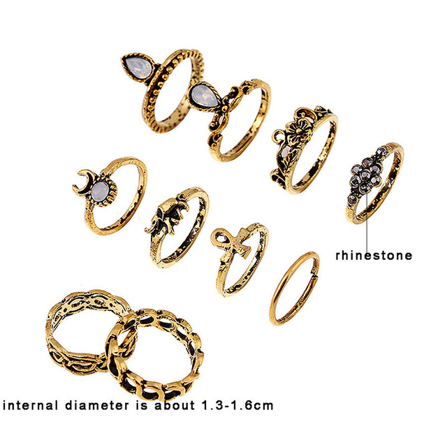 10Pcs Silver/Gold Color Floral Midi Ring Set