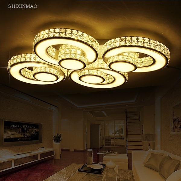 Modern Creative Ring Space Crystal Ceiling Light Home LED Living Room Bedroom & Commercial Places Ceiling Lamps