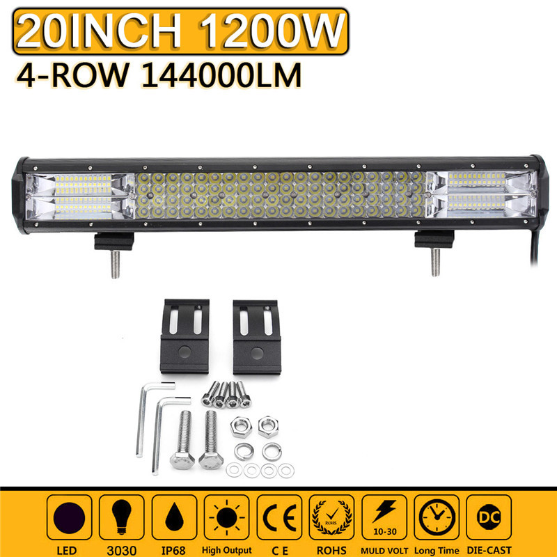 20 Inch 1200W LED Work Light Bar Spot Flood Combo Driving Lamp Waterproof LED Work Light For SUV ATV Offroad Car Truck Boat 2pcs set square 27w car led work light 30 degree spot lamp for working driving off road spot light boat suv truck car