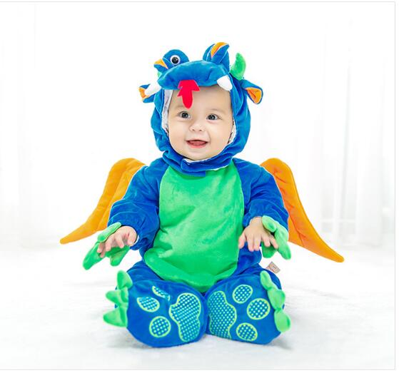 Baby Boy's Halloween Hooded Rompers 2017 Winter Long Sleeve Cartoons Animal Infant Toddler Romper Baby Clothes Kids Outerwear newborn baby romper kid jumpsuit hooded infant outfit clothes long animal modelling baby rompers overalls of toddler body suit