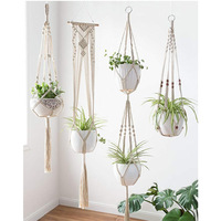 5 шт. набор подвеска для растений из макраме цветок/горшок вешалка для украшения стены двора садовый подвесной горшок макраме настенный