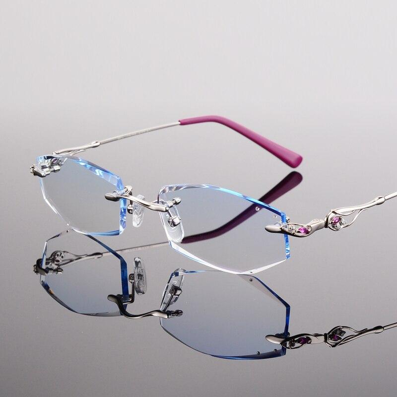45 Brillen Schöne Mode Diamant Temperament Gläser Randlose Weitsichtigkeit Trimmen Frau Brille Kurzsichtigkeit 1RxfqqSPw