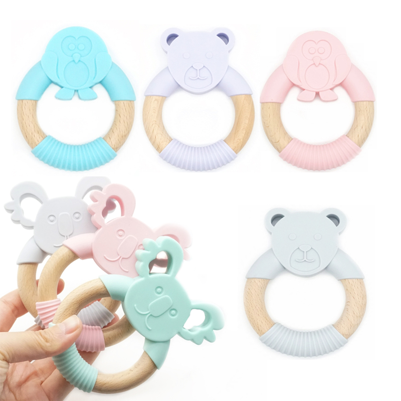 2Pieces Wooden Ring Teether Styles Animal Shape Chew Toy
