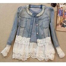 spring autumn patchwork Denim lace beading jean jacket women coat long sleeve casual slim blue elegant women coat