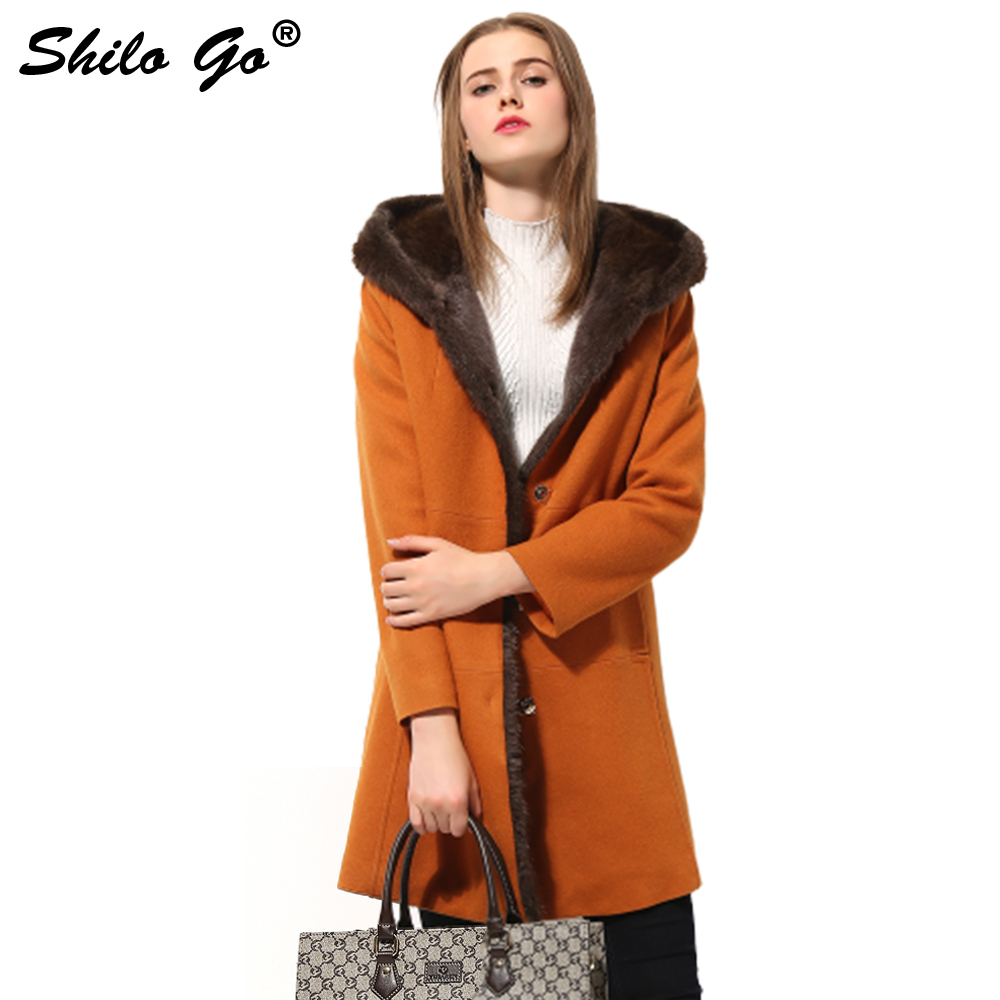New Womens Winter Orange Jacket Coats Thick Parkas Plus Size Real Mink Collar Hooded Rabbit Fur Lining Outwear Fur coat