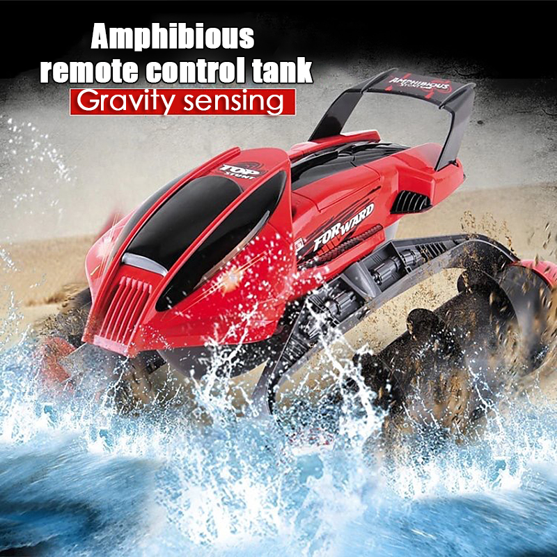 Amphibious Stunt RC Tank Car Multi-Function RC Boat Tank Car On Water Grass Sand Children Remote control educational Toy