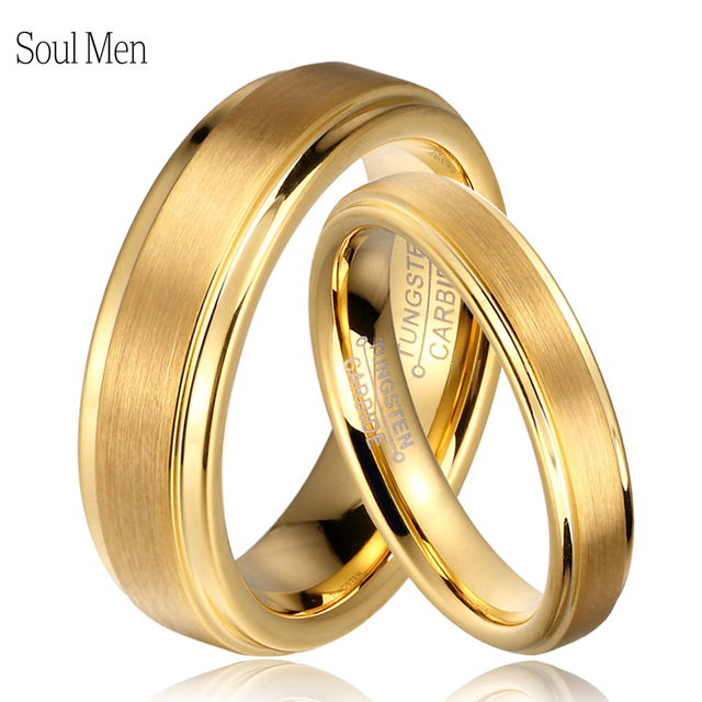 Soul Men 1 Pair Gold Color Tungsten Carbide Wedding Band Rings Set