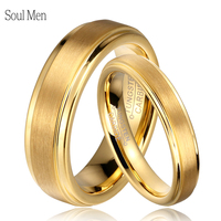 Soul Men 1 Pair Gold Color Tungsten Carbide Wedding Band Rings Set for Him and Her 6mm for Men 4mm for Women Brushed Finish
