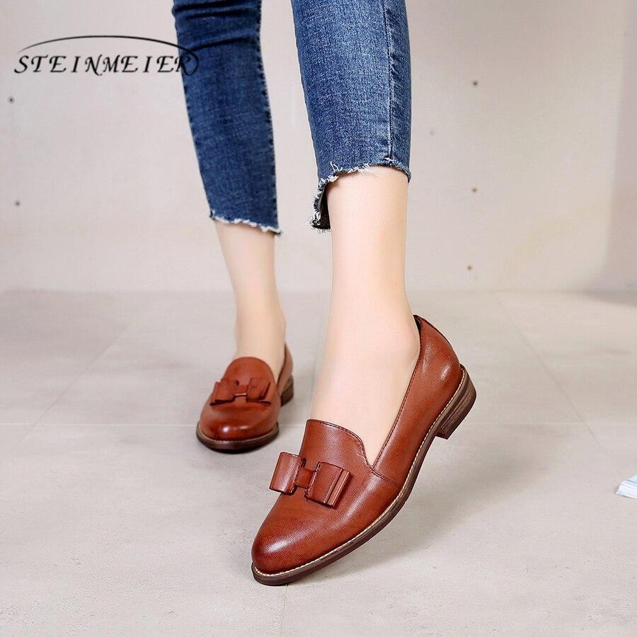 100% Véritable peau de mouton en cuir derbies yinzo dame appartements chaussures vintage à la main sneakers brun jaune bleu oxford chaussures pour femmes