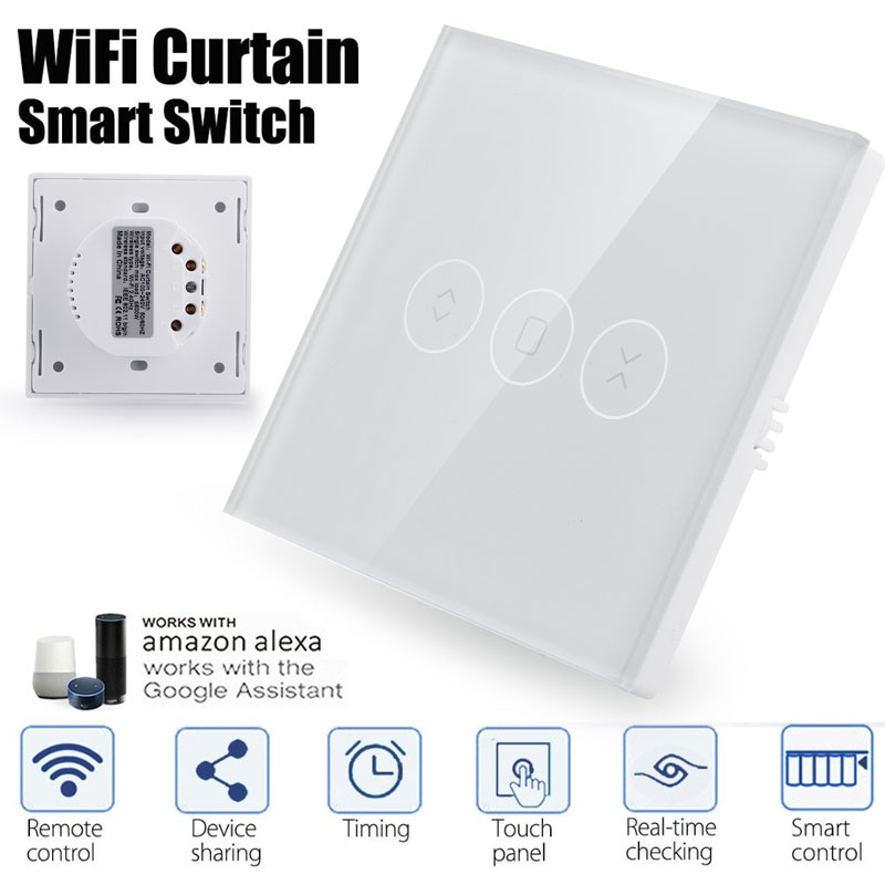 Smart Life Wifi Electrical Blinds Curtain Switch Timing Home Appliances Voice Control Wall Switch For Electric Motorized Curtain