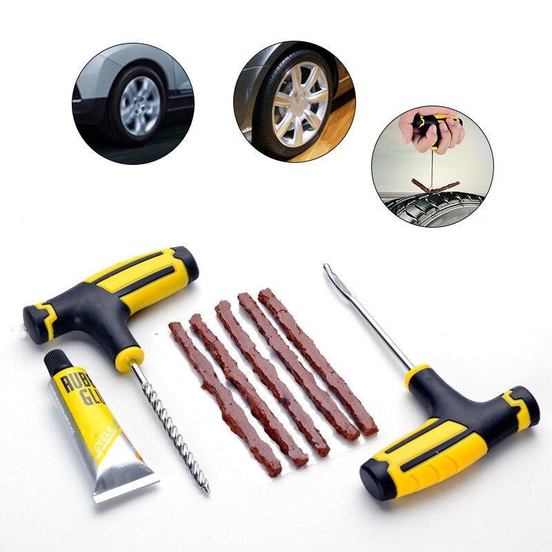 car bike auto tubeless tire repair kit tyre puncture plug. Black Bedroom Furniture Sets. Home Design Ideas