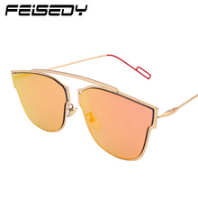 FEISEDY Fashion Cat Eye Sunglasses Women Brand Designer Vintage Classic Reflective Metal Sun Glasses Men Flat Panel Lens Gafas