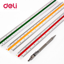 Deli triangular scale ruler professional graphics three edges in the scale interior design 3 sides 3 colors 30cm scale ruler