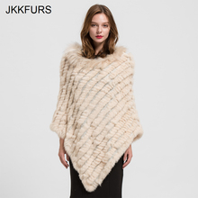 2019 Womens Poncho Real Rabbit Fur Knitted Shawl Raccoon Collar Top Quality Large Cape Fashion Style S1729