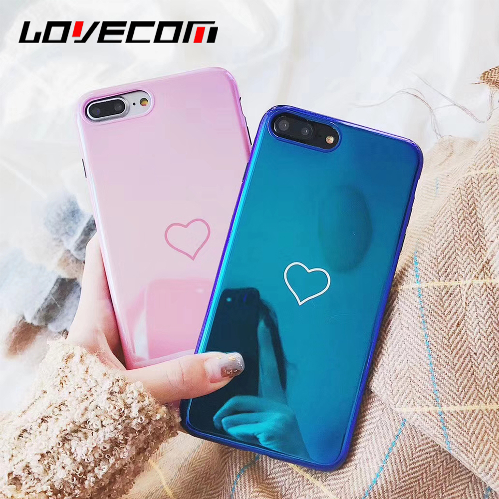 LOVECOM <font><b>Blu-Ray</b></font> Phone Case For iPhone 6 6S 7 8 Plus X Hot Korean Heart <font><b>Mirror</b></font> Soft TPU Phone Back Cover Cases Best Gifts
