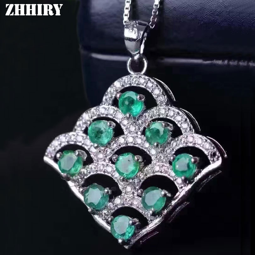 ZHHIRY Natural Green Emerald 925 Sterling Silver Necklace Pendant For Women Genuine Gem Stone Fine Jewelry stylish faux gem stone shape embellished necklace for women