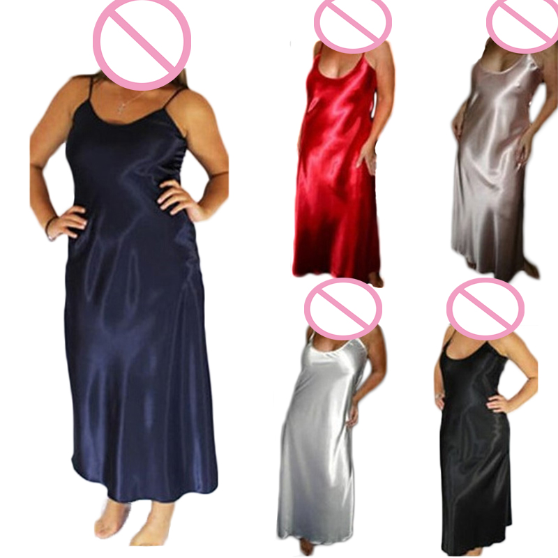 ENGAYI Plus Size 5 Colors Women Long Nightwear Faux Silk Satin Night Dress Girls Sleepwear Nightgown Nightdress Night Down B276
