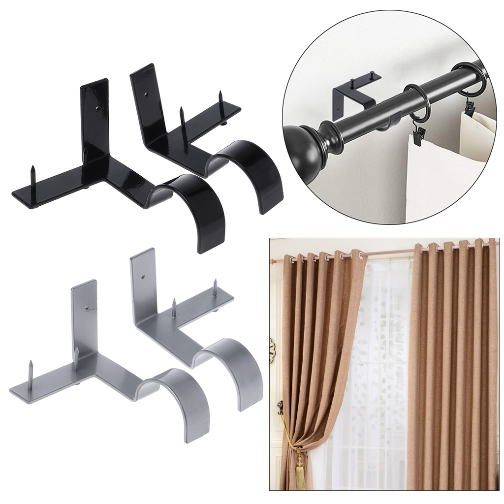 2pcs Practical Curtain Rod Brackets Sturdy Curtain Pole Holder For Home2pcs Practical Curtain Rod Brackets Sturdy Curtain Pole Holder For Home