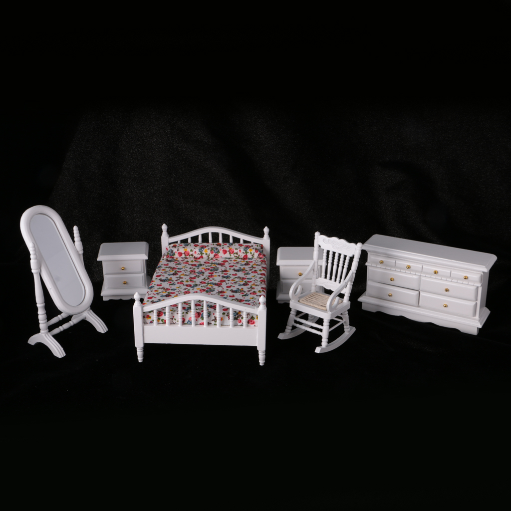 Kids Bedroom Furniture Kids Wooden Toys Online: Kids 6Pcs 1:12 Dollhouse Miniature White Wooden European